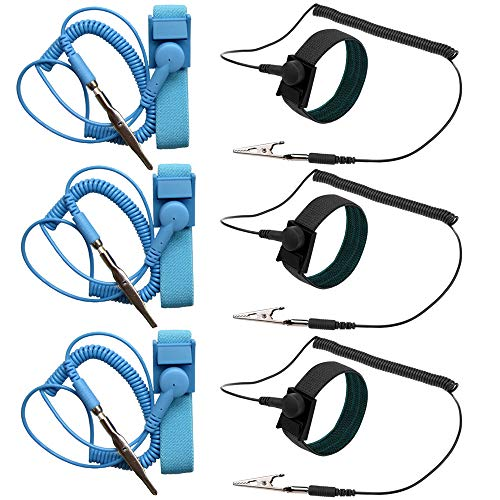 ESD Anti-Static Wrist Strap Components, DaKuan 6 Packs Anti-Static Wrist Straps Equipped with Grounding Wire and Alligator Clip, Grounding Solution for Working on Sensitive Electronic - Anti Static Device