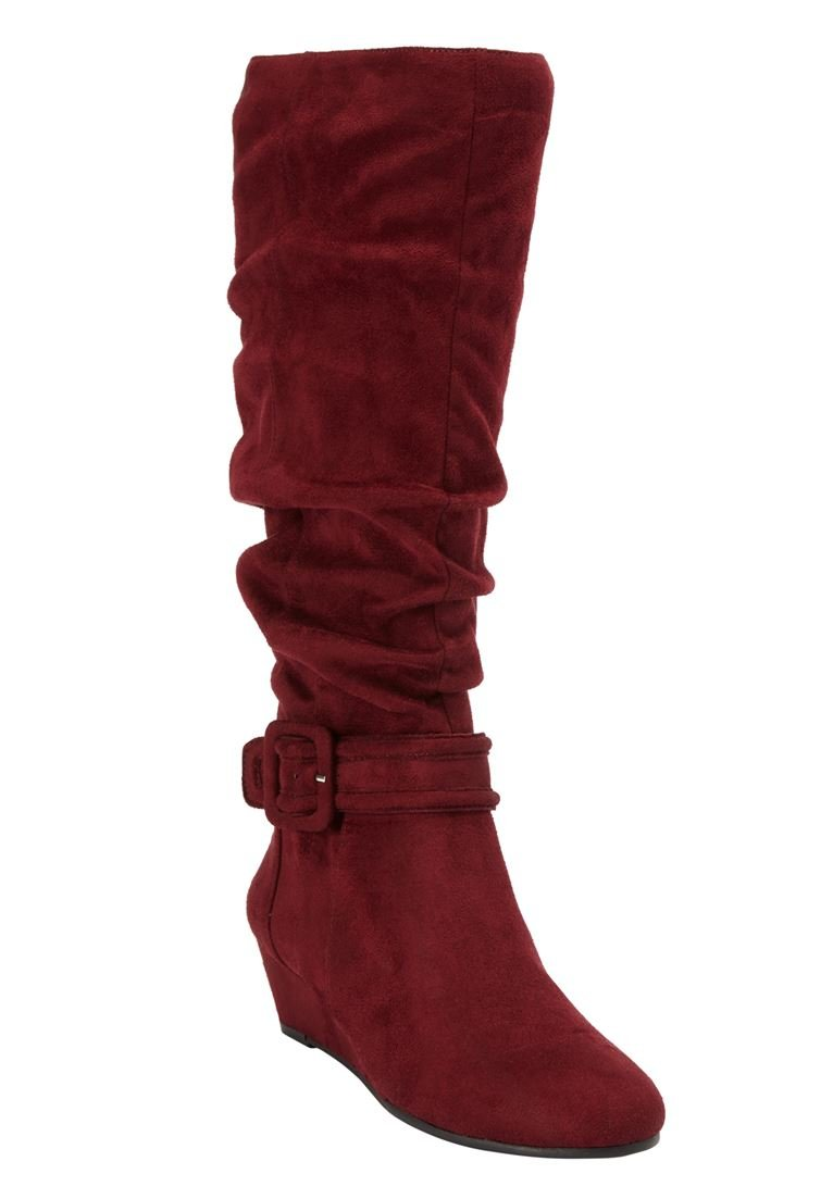 Comfortview Women's Plus Size Bodhi Tall Calf Boots B074Y8RRVK 7 E US|Burgundy