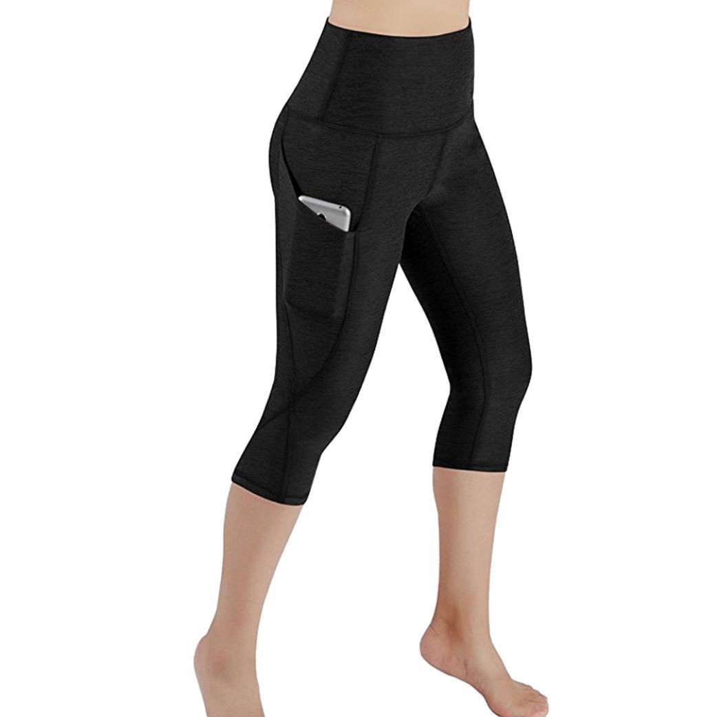 Gillberry Power Flex Yoga Capris Pants Tummy Control Workout Running 4 Way Stretch Yoga Capris Leggings Side Pocket (Black, S)