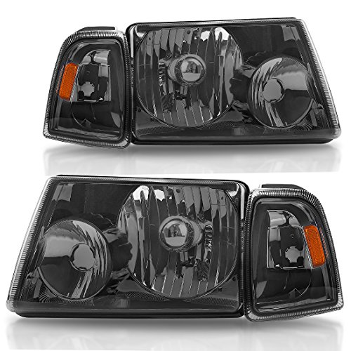 AUTOSAVER88 Headlight Assembly for 01 02 03 04 05 06 07 08 09 10 11 Ford Ranger + Corner light, OE Projector Headlamp,Clear Housing Smoked Cover (Driver and Passenger Side, 4pcs) -