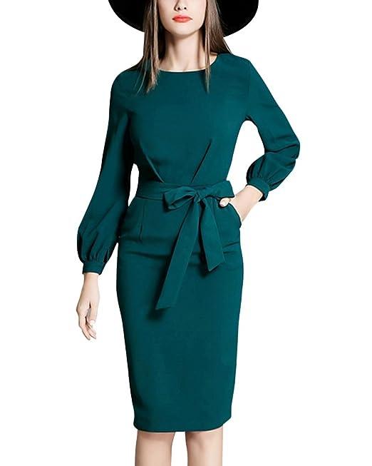 ZhuiKun Vestido Tubo Mujer Vintage Slim Bodycon Delgado Vestidos Rectos Cortos Verde S