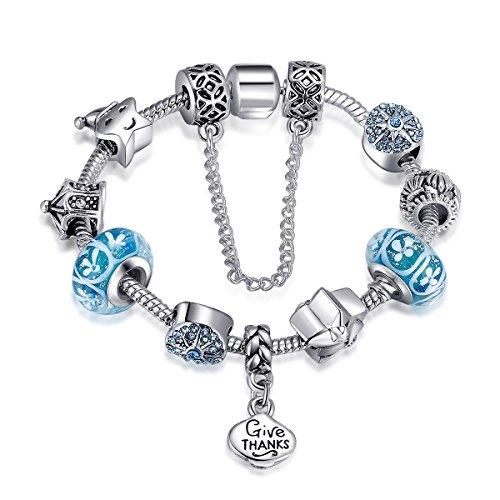 Presentski Girls Blue Flowers Charm Bracelet Thanksgiving Theme DIY Beads Bangle Bracelet for Daughter Kids ()