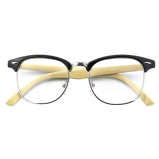 27d096998b Happy Store CN56 Vintage Inspired Classic Horn Rimmed Half Frame Nerd UV400 Clear  Lens Glasses