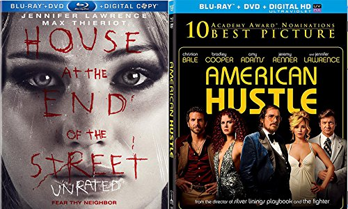 Jennifer Lawrence American Hustle + House at the End of The Street Blu Ray DVD 2 Pack Drama Academy Award Winner Movie Set Double feature bundle