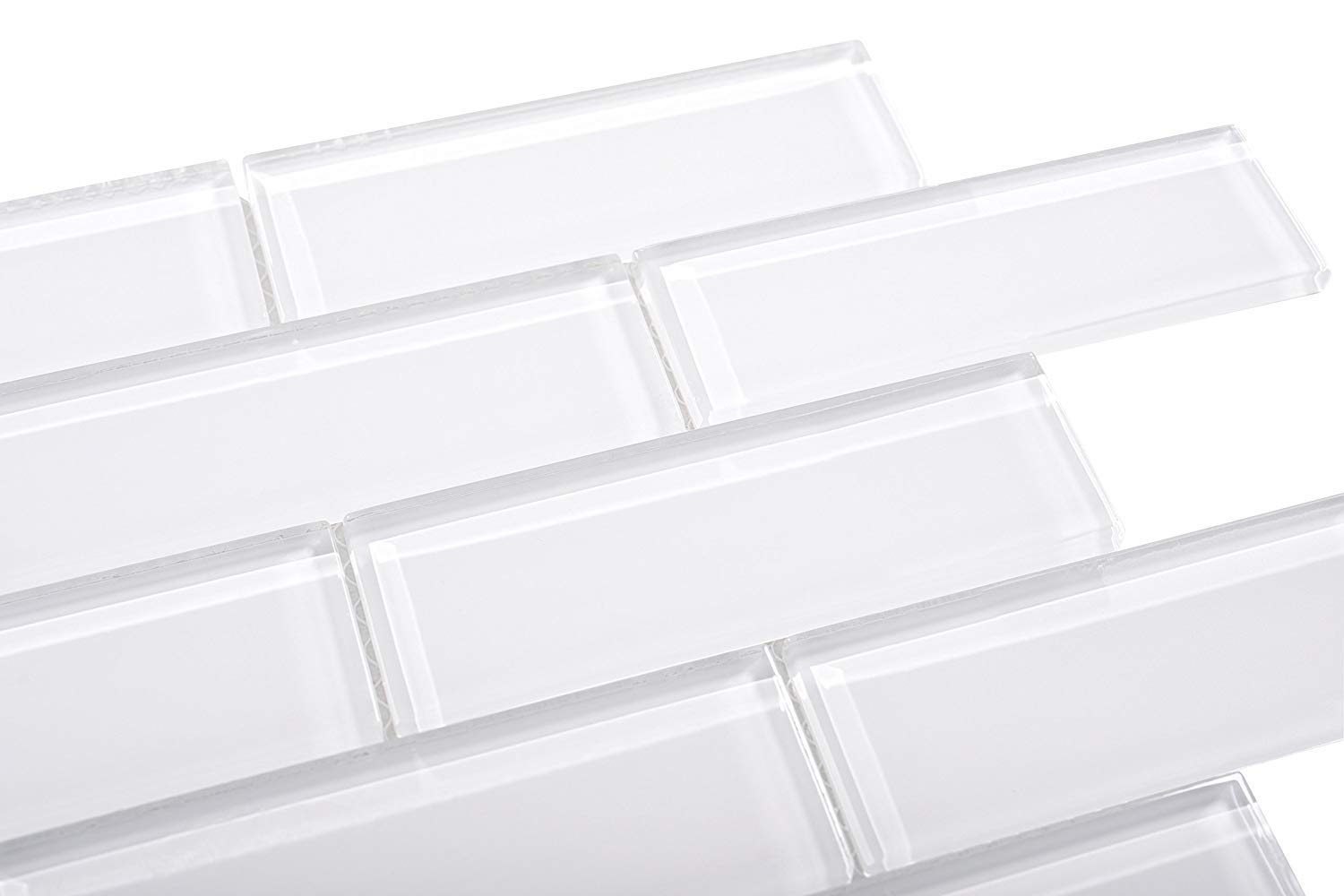 2'' x 6'' Subway Tyle White Glass, Backsplash, Mesh-Mounted Tile for Kitchen & Bathroom - 12 in x 12 in x 8mm (5 Square feet)