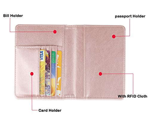 GDTK Leather Passport Holder Cover Case RFID Blocking Travel Wallet (Rose Gold)