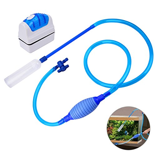 (YoungRich Aquarium Clean Set Including Fish Tank Gravel Cleaner and Strong Magnetic Clean Brush Algae Glass Scrubber Floating with Large Airbag and Adjustable Water Flow Controller for Water Changing)