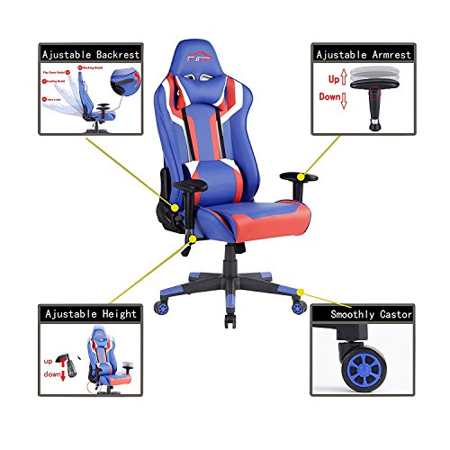 Top Gamer Gaming Chair PC Computer Game Chairs for Video Game (Blue/Red/White,2) by Top Gamer (Image #1)