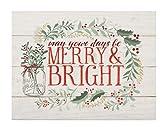 Merry & Bright Holly Wreath Whitewash Lath 5.5 x 7.5 Solid Wood Barnhouse Block Sign
