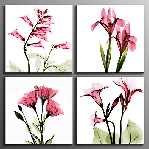 Canvas Print Wall Art Elegant Tulip Flower Canvas Wall Art in Light Red Color Painting for Living Room Decoration 4 Panels 12