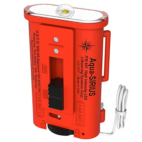 AQUA-SIRIUS Water Activated LED Strobe Light - US Coast Guard Approved Signaling Device, Exceeds SOLAS Requirements - Made in (Solas Flare)