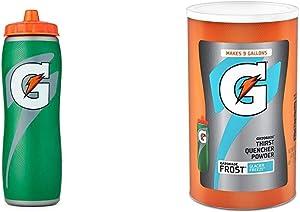 Gatorade 32oz Gator-Skin Bottle, Green, One Size & Gatorade Thirst Quencher Powder, Frost Glacier Freeze, 76.5 Ounce, Pack of 1