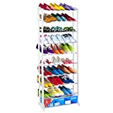 Dealkoo Adjustable 10 Tiers Shoe Rack Space Saving Tower Organizer for Closest