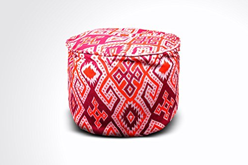 Round Ikat Pouf Ottoman, Orange & Red. Ethnic, Boho Pouf, Floor Cushion. Handwoven in Indonesia. 20''W x 13.5''H by Kasih Coop