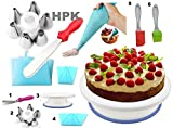 HPK Cake Decoration Tools Set Decorating Turn Full Rotating Round Table with accessories