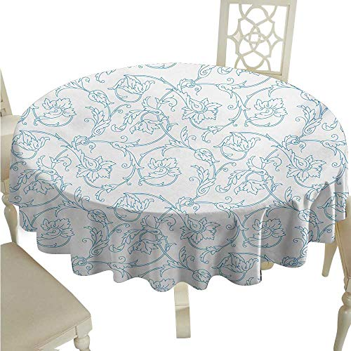 Willsd Round Tablecloth Floral Flower Orchids Bohemian Style Vintage Petals Vines Pattern French Country Style Washable Tablecloth D36 Suitable for picnics,queuing,Family ()