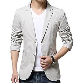 Men's 2 Button Cotton Casual Blazer