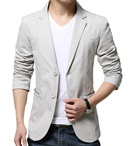 OUYE Men's 2 Button Cotton Casual Blazer XX-Large Beige