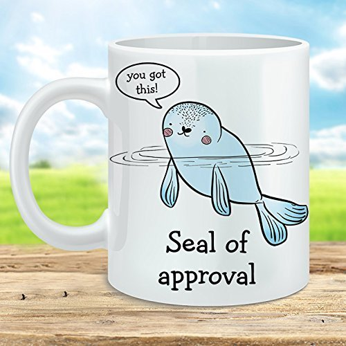 Seal of Approval Coffee Mug Microwave and Dishwasher Safe Ceramic Sublimation ()
