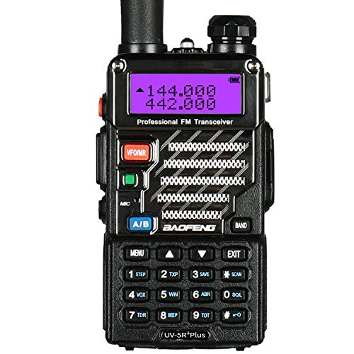 Shortwave Transmitter - Baofeng UV-5R+ Plus UHF VHF Long Range Dual Band Ham Amateur Two Way Radio, Black