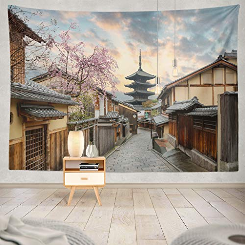 Suesoso Japan Tapestry, Hang Wall Art,Pagoda and Street with Cherry Blossom Morning Kyoto Japan Hanging Wall Decor,Tapestry Wall Hanging for Home Decor,Birthday Gifts for Women