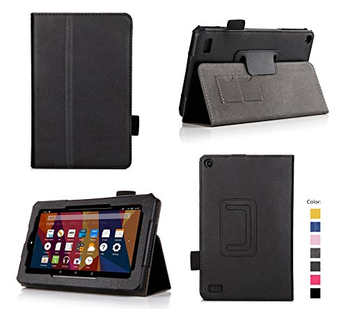 For Fire 7 2015 - Folio Case with Stand for Kindle Fire 7 (5th Generation, Sept 2015 Model) - Black