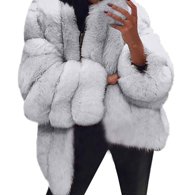 Yvelands Mujer de Invierno cálido Abrigo de Piel Artificial de Manga Larga Abrigo Atractivo más Outwear