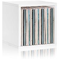 Way Basics Vinyl Record Storage Cube Extra Large Stackable LP Record Album Shelf, White