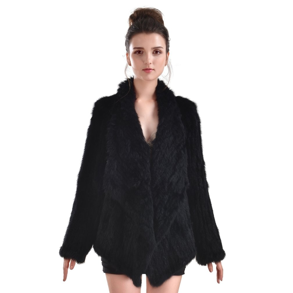 OLLEBOBO New Women's Genuine Rabbit Fur Coat Cardigan Fashion and Warm black