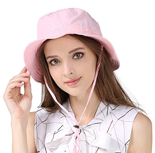 Cap String - Home Prefer Women's Sun Hat Bucket Hat Light Soft Windproof Fishing Hat With String Short Brim Portable Tripper Travel Hat Pink