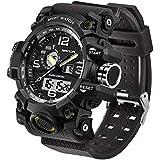 Men's Military Watch, Dual-Display Waterproof Sports Digital Watch Big Wrist for Men with Alarm (Black)