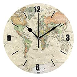 PAGSRAH Vintage Old Map Wall Clock Silent Non-Ticking 9.5 Inch Round Clock Acrylic Art Painting Home Office School Decor