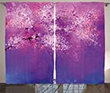 Watercolor Flower Home Decor Curtains by Ambesonne, Asian Japanese Cherry Blossom with Hazy Romantic Paint, Living Room Bedroom Window Drapes 2 Panel Set, 108W X 108L Inches, Fuchsia Purple