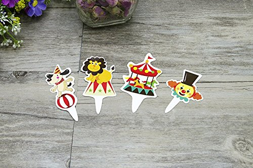 Yunko Set of 40 Circus Cake Cupcake Decorative Cupcake Topper for Kids Birthday Party Themed Party Baby (Circus Themed Baby Shower)