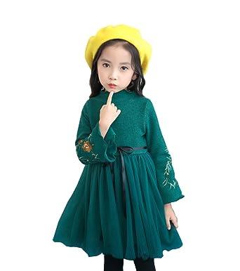beab95df9fda0 FEVON ワンピース 子供 女の子 秋冬 長袖 裏起毛 暖かい ニット チュール 切り替え ドレス キッズ ガールズ ふわふわ