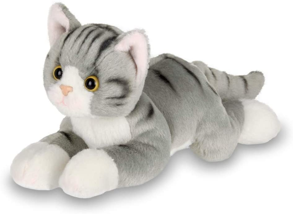 Creamy White and Grey Striped Sock Lion Plush with Red Heart Button