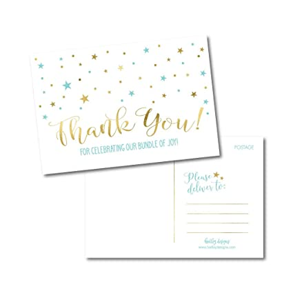 Amazon 25 Boy Baby Shower Thank You Note Card Bulk Set Blank