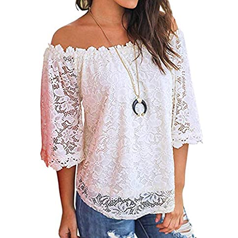 - 51VZj3Z2gfL - Womens Lace Tops Off Shoulder Shirts Ruffle 3/4 Sleeve Casual Blouses Tops