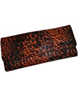 Kenneth Cole Reaction Women's Elongated Clutch Wallet Cheetah Brown