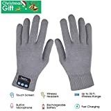 Bluetooth Gloves, Wireless Bluetooth Gloves, Winter Gloves Touch Screen with Built-in Speakers & Microphone for Music & Phone Calling, Best Gifts for Christmas (Grey)