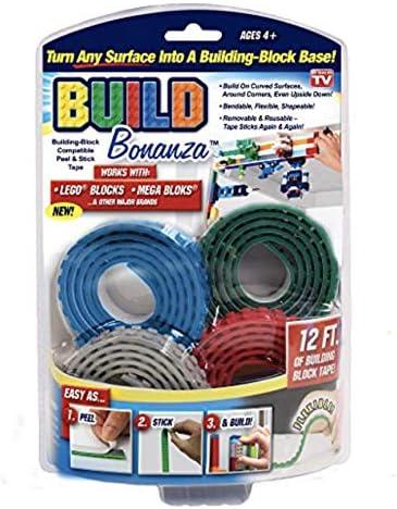 Blue//Red//Grey//Green Bonanza Build BZ2M1-MC12//6 Self Adhesive Tape Works Building Block Tape N//A Bonus Base Plate
