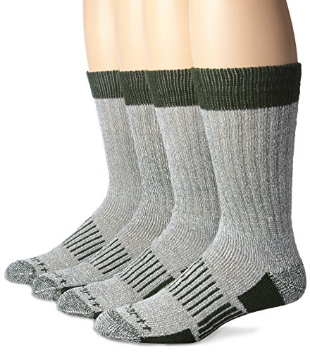 Carhartt Men's 4 Pack All Season Wool Work Socks, Green, Sock Size:10-13/Shoe Size: 6-12 (Wool Work Sock)
