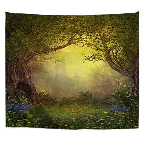Enchanted Fairies Wall Art - A.Monamour Magical Fairy Forest Opening with A Enchanted Castle in The Background Art Print Cloth Fabric Wall Hanging Tapestry Wall Art Decors Table Cloth Bedspread Bedsheet