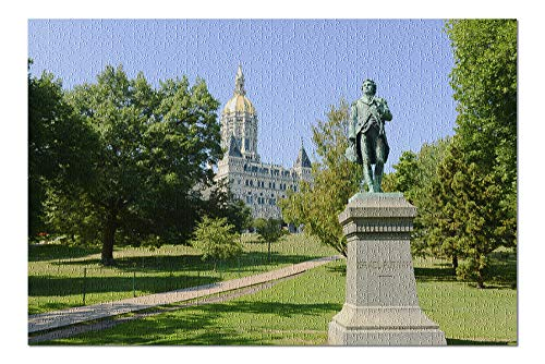 Hartford, Connecticut - State Capitol Building with Statue of Israel Putnam - Photography A-94725 (20x30 Premium 1000 Piece Jigsaw Puzzle, Made in USA!)