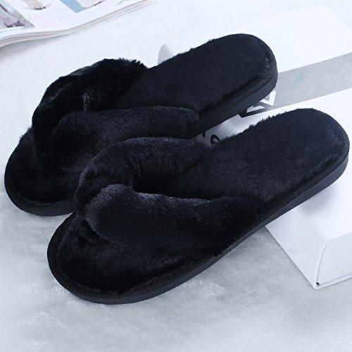 Pantoufles De Thong De Spa De Douces Femmes En Peluche Pantoufles De Sabot Dintérieur Pantoufle Maison Pantoufle Noir
