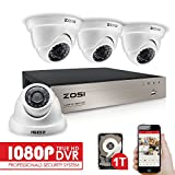 ZOSI-4CH-FULL-TRUE-1080P-HD-TVI-DVR-Recorder-HDMI-With-4X-1980TVL-Indoor-outdoor-Surveillance-Security-Dome-Camera-System-1TB-hard-Disk-65feet-Night-Vision-IR-Cut-built-in-Quick-Remote-Access