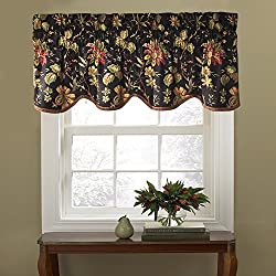 WAVERLY 10982050X015NO Felicite 50-Inch by 15-Inch Window Valance, Noir