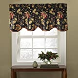 "valances window treatments  Kitchen Valances for Windows - Felicite 50"" x 15"" Short Curtain Valance Small Window Curtains Bathroom, Living Room and Kitchens, Noir"
