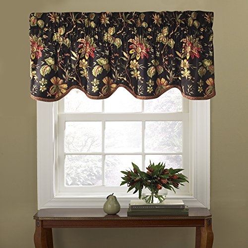 "Kitchen Valances for Windows - Felicite 50"" x 15"" Short Curtain Valance Small Window Curtains Bathroom, Living Room and Kitchens, Noir"
