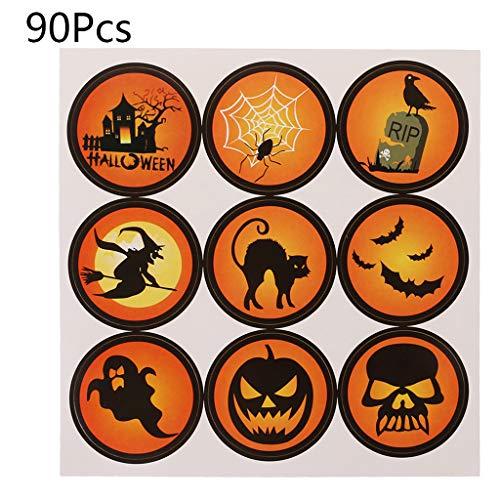 LGQing 90Pcs Halloween Handmade Cake Packaging Sealing Label Kraft Sticker DIY -